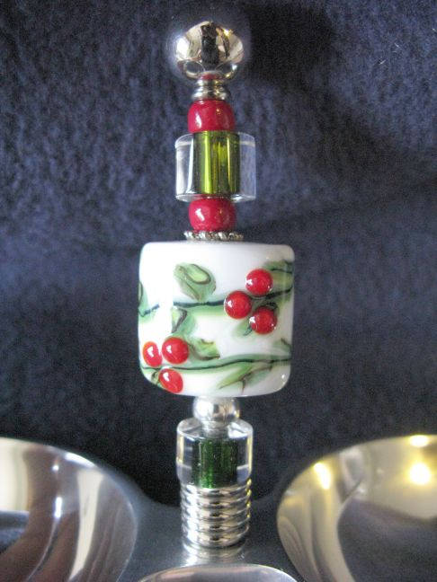 Double Dip Bowl - Holly with Berries Lampwork