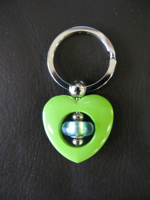 Lime Heart Keyring - Turquoise Lime bead