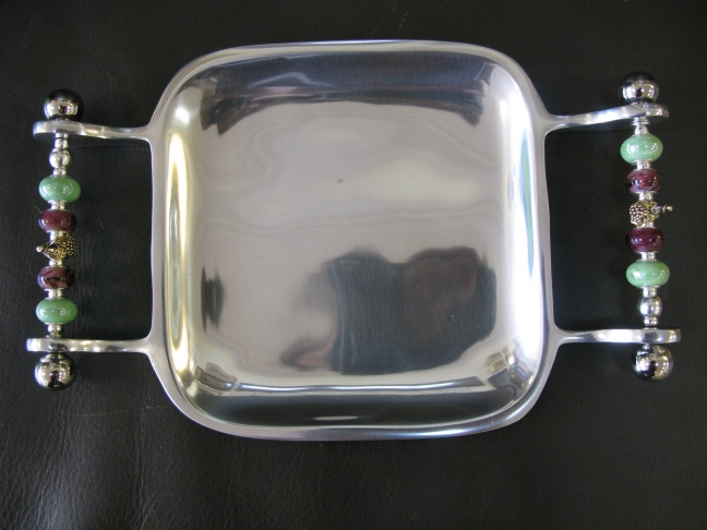Handled Square Dish with Wine Bottle Grapes