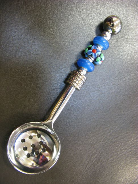 Slotted Spoon - Black with Blue Flowers