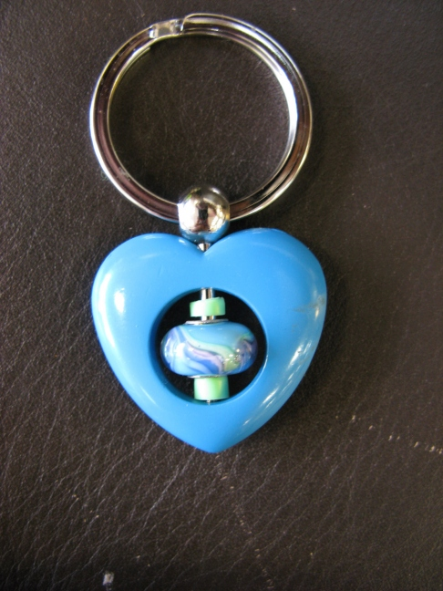 Turquoise Heart Keyring - Mutli-color Swirls