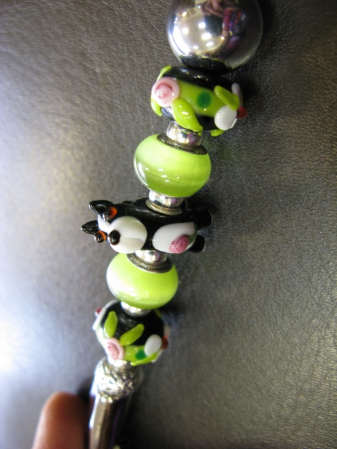 Coffee Scoop with Black White Dog, Lime green
