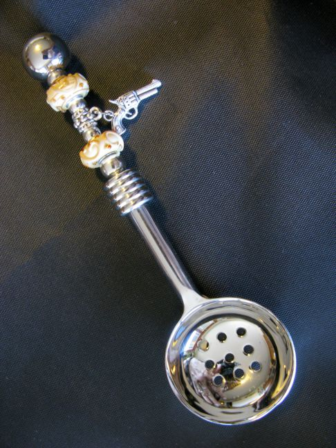 Slotted Spoon - Pistol Charm, Brown Scrollwork Dots